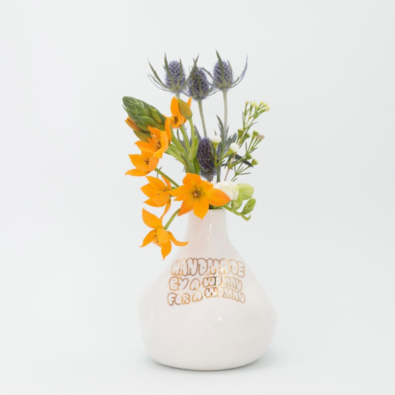 Porcelain vase handmade by a women for a women by Cybele B.Pilon